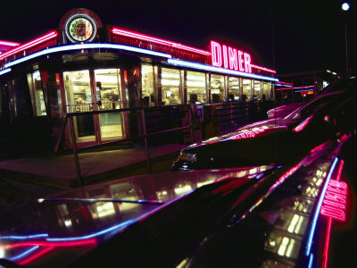 Late-Night View of the Bright Neon of the Roadside Diner Stretched Canvas Print