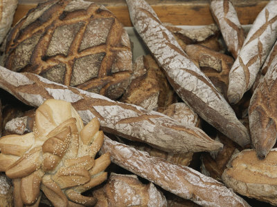 French Breads at a Bazaar in Provence Stretched Canvas Print