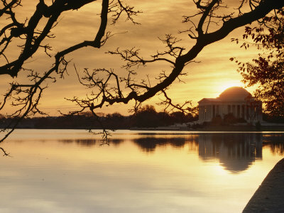 View of the Jefferson Memorial at Twilight Stretched Canvas Print