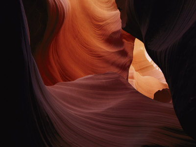 A Close View of a Crevice in Antelope Canyon Stretched Canvas Print