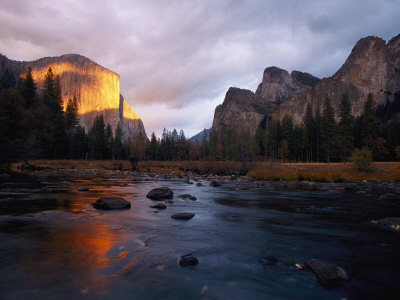 Evening Sun Lights up El Capitan and the Merced River Stretched Canvas Print