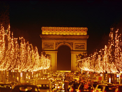 A Night View of the Arc De Triomphe and the Champs Elysees Lit up for Christmas Stretched Canvas Print