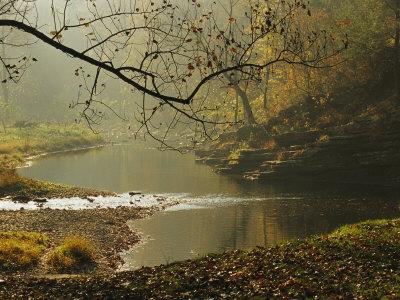 Creek Runs Through Blue Hole Campground Stretched Canvas Print