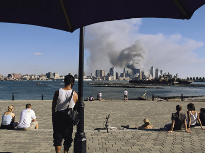 Onlookers Watch Smoke Billowing over Manhattan, September 11, 2001 Stretched Canvas Print