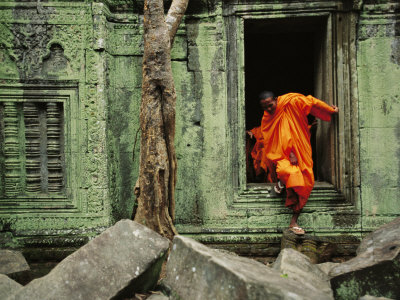 Angkor Wat Temple with Monk, Siem Reap, Cambodia Stretched Canvas Print