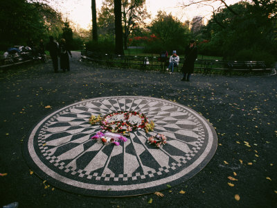 The Imagine Mosaic, a Memorial to John Lennon in Strawberry Fields Stretched Canvas Print