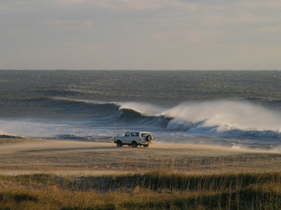 Wind, Waves and Fisherman in an Suv on a Beach in the Outer Banks Stretched Canvas Print