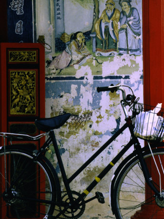 Bicycle Against Muralled Wall of Chinese Temple at Marudi, Sarawak, Malaysia Stretched Canvas Print