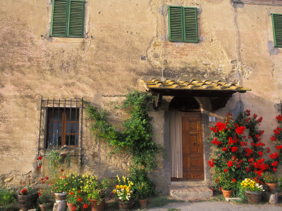 Old Home with Flowers at San Gimignano, Tuscany, Italy Stretched Canvas Print