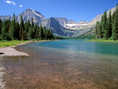 Lake Josephine with Grinnell Glacier and the Continental Divide, Glacier National Park, Montana Stretched Canvas Print