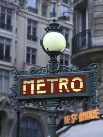 Metro Signage in Paris, France Stretched Canvas Print