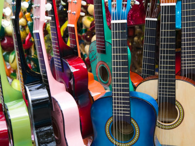 Toy Guitars, Olvera Street Market, El Pueblo de Los Angeles, Los Angeles, California, USA Stretched Canvas Print