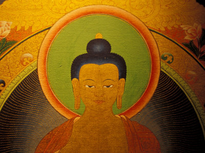 Buddha on a Thanka Painting, Tibet Stretched Canvas Print
