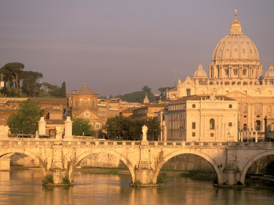 Basilica San Pietro and Ponte Sant Angelo, The Vatican, Rome, Italy Stretched Canvas Print