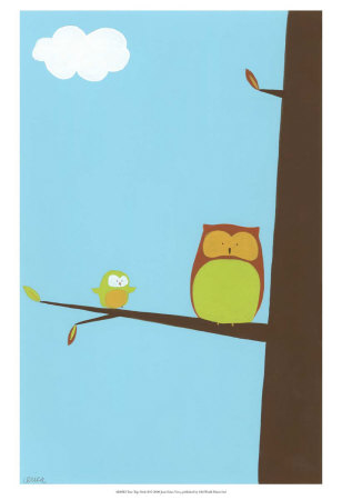 Treetop Owls II Print. zoom. view in room