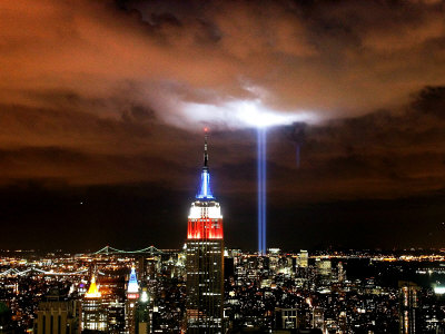 """Tribute in Light"" Illuminates the Sky Over Manhattan Stretched Canvas Print"