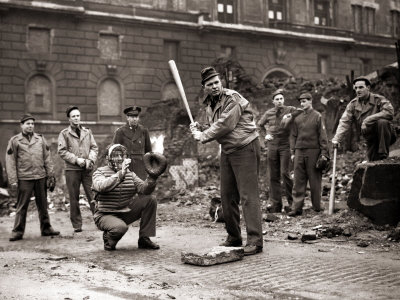 15 American Soldiers Playing Baseball Amid the Ruins of Liverpool, England 1943 Stretched Canvas Print