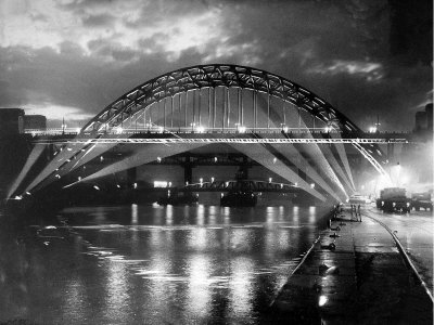 The Tyne Bridge Illuminated at Night circa 1969 Stretched Canvas Print