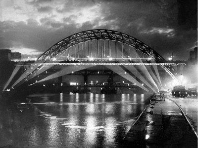 The Tyne Bridge Illuminated at Night circa 1969 Stretched Canvas Print