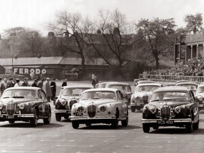 Saloon Car Race at the International '200' Meeting at Aintree, Jaguar S-Type Saloon Car, April 1961 Stretched Canvas Print