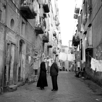 A Priest Chats to an Elderly Man in a Street, Naples, Italy 1957 Stretched Canvas Print
