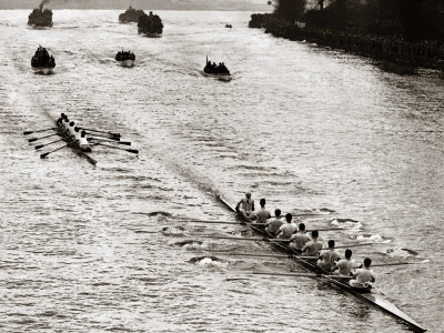 Rowing, Oxford V Cambridge Boat Race, 1928 Stretched Canvas Print