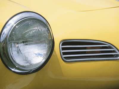 Headlight in Yellow Car Stretched Canvas Print