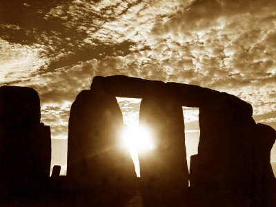 Sunset Over Stonehenge Wiltshire Stretched Canvas Print