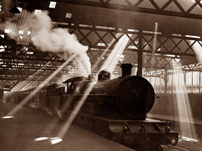 Steam Train Leaving Euston Station, April 1928 Stretched Canvas Print