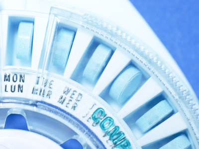 Close-up of Birth Control Pills in Plastic Wheel Container Stretched Canvas Print