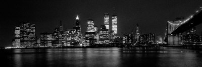 New York Skyline at Night Dominated by the Twin Towers of the World Trade Centre, August 1981 Stretched Canvas Print