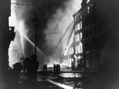 Firemen Using Hoses on the Inferno at Eastcheap London Ec at the Height of the Blitz Stretched Canvas Print