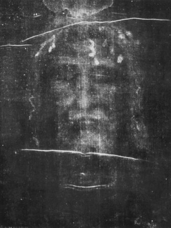 Part of the First Photograph of the Shroud Showing the Face Stretched Canvas Print