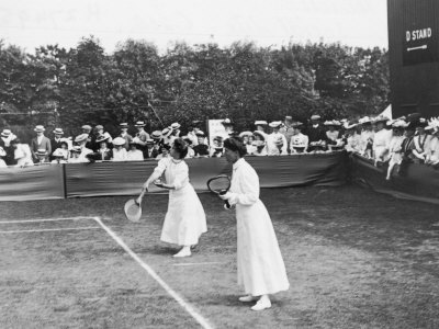 Ladies' Doubles Match at Wimbledon Stretched Canvas Print