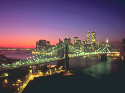 New York City Skyline and the Brooklyn Bridge Stretched Canvas Print