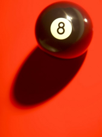 Eight Ball on with Shadow on Red Billard Table Stretched Canvas Print