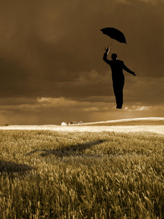 Flying Man with Umbrella Stretched Canvas Print