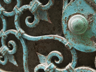 Ornate Metal Gate with Doorknob Stretched Canvas Print