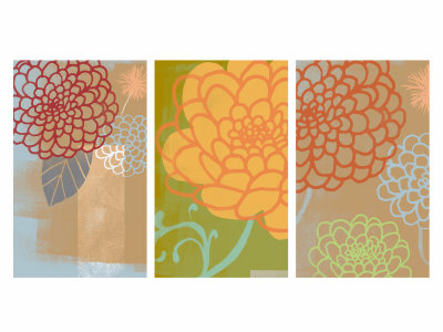 Mums Triptych Stretched Canvas Print