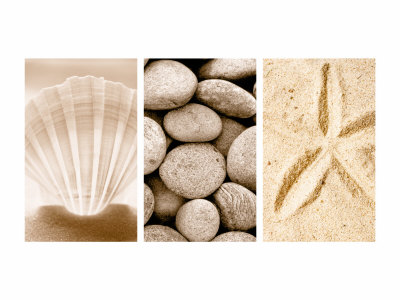 Beach Patterns Triptych Stretched Canvas Print