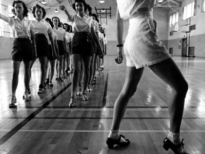 Tap Dancing Class at Iowa State College, 1942 Stretched Canvas Print