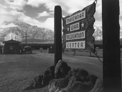 Entrance to Manzanar Relocation Center Stretched Canvas Print