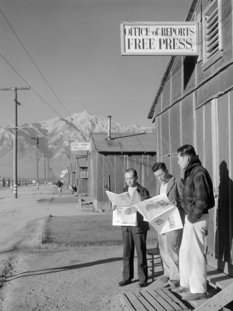 Roy Takeno, Editor, and Group, Manzanar Relocation Center, California Stretched Canvas Print