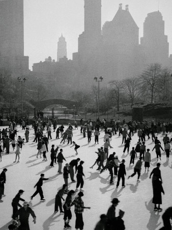Iceskating in New York Stretched Canvas Print