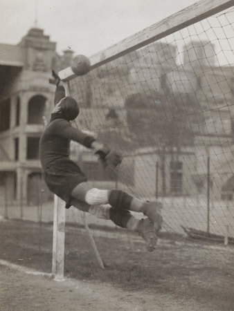 Goalie of the Genova Soccer Team During a Play Stretched Canvas Print