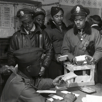 """""""Escape Kits"""" (Cyanide) Being Distributed to Black Fighter Pilots at Air Base in Italy, 1945 Stretched Canvas Print"""