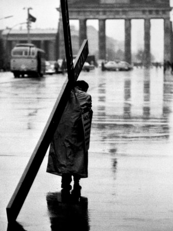 Man Carrying Cross, Berlin, October 1961 Stretched Canvas Print