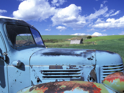 Old Truck, Palouse Region, near Pullman, Washington, USA Stretched Canvas Print