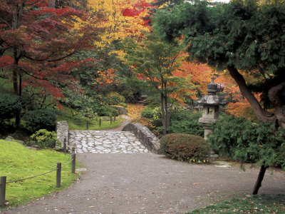 Pathway and Stone Bridge at the Japanese Garden, Seattle, Washington, USA Stretched Canvas Print