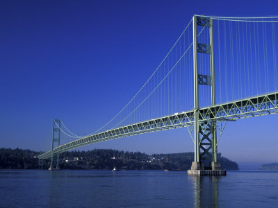 Tacoma Narrows Bridge, Washington, USA Stretched Canvas Print